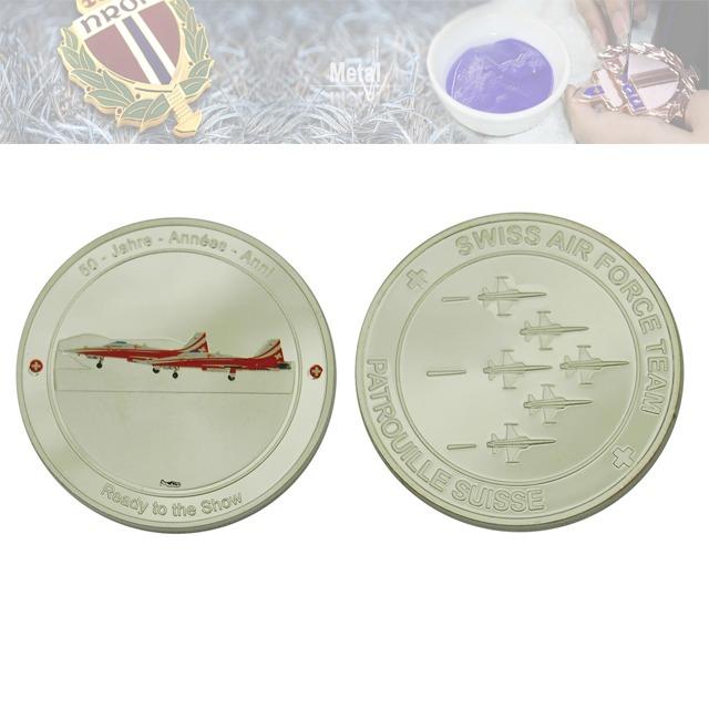 镜面纪念章定制、镜面飞机印刷纪念币定做工厂