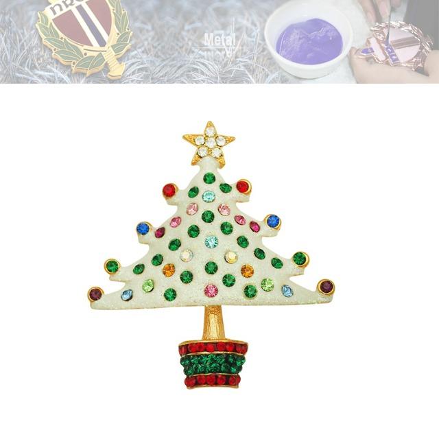 铅锡合金镶钻徽章、圣诞树徽章定制